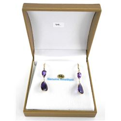 (BB79) Ladies 14kt Gold 2 Tier Pear Cut amethyst E