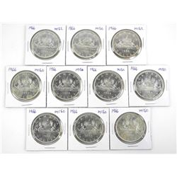 Lot (10) 1966 Canada Silver Dollars