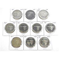 Lot (10) 1967 Canada Silver Dollars