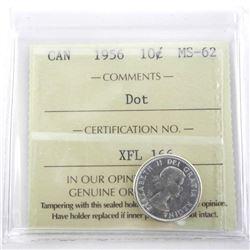 1956 Canada 10 Cent MS62. ICCS.