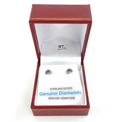 (B979) 925 Sterling Silver Diamond Stud Earring -