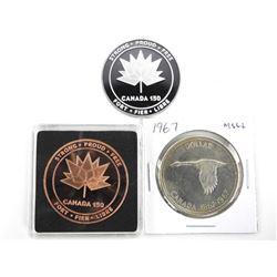 Grouping (3) Canada 150 Copper, .9999 Fine Silver