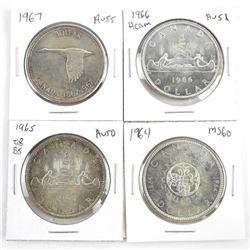 Lot (4) Canada Silver Dollars: 1964, 1965, 1966, 1