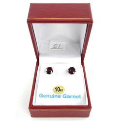 (BB51) 10kt Gold Stud Earrings 1.80ct Garnets. App