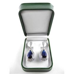 925 Silver Custom Earrings, Pear Cut Sapphire Blue