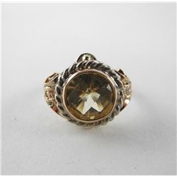 Estate - 9kt Gold Ring Round Bezel Set Citrine