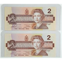 Lot (2) Bank of Canada 1986 Two Dollar Notes