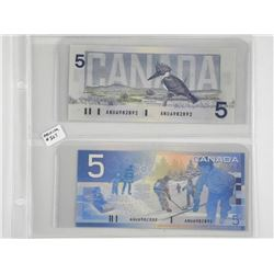 Pair of Bank of Canada Five Dollar Notes Matching