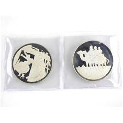 Lot (2) 925 Sterling Silver Artistic Medals. 93 gr