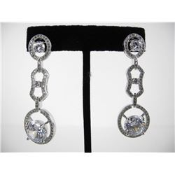 925 Silver Multi Tier Earrings with Swarovski Elem