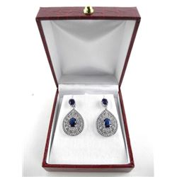925 Sterling Silver 2 Tier Pear Design Earrings Sw
