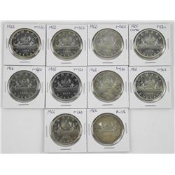 Lot (10) 1966 Canada Silver Dollar Graded