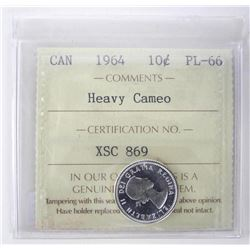 1964 Canada 10 Cent PL66. ICCS. Heavy Cameo