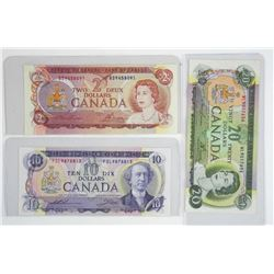 Lot of (3) Bank of Canada Notes: Two, Ten and Twen