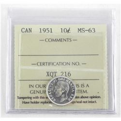 Canada 1951 Silver 10 Cent. ICCS. MS63.