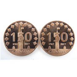 Pair .9999 Pure Copper/Bronze Medlas Canada 150 18
