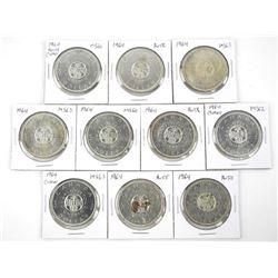Lot (10) 1964 Canada Silver Dollars