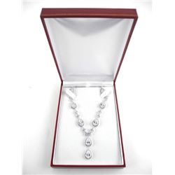 925 Silver Fancy Necklace Set With Multi Pear Shap