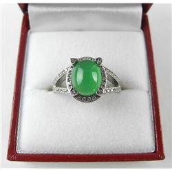 925 Silver Custom Ring w/Oval Jadeite & SE.