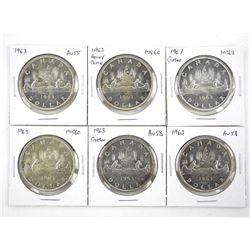 Lot (6) 1963 Canada Silver Dollars