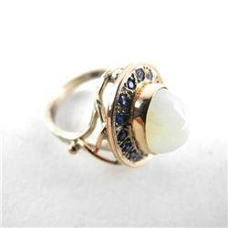 9kt Gold Moonstone & Saphire Estate Ring
