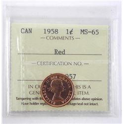 1958 Canada 1 Cent. ICCS. MS-65