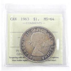 1963 Canada Silver Dollar. ICCS. MS-63