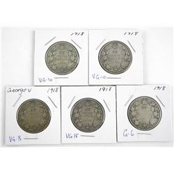 Lot (5) Canada 1918 George V Silver 50 Cent