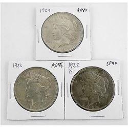 Lot (3) U.S. Silver Dollar: 1922d, 1923, 1924