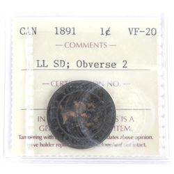 1891 Canada Large Cent VF-20 LL SD: Obverse 2 ICCS