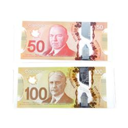 Lot (2) Bank of Canada Notes: Fifty and One Hundre