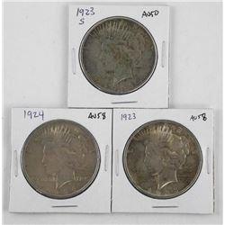 Lot (3) U.S. Silver Peace Dollars: 1923, 1923S, 19