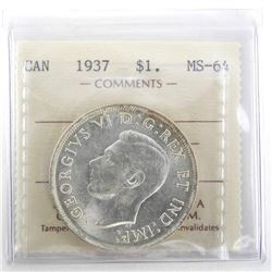 1937 Canada Silver Dollar Coin. MS64 ICCS