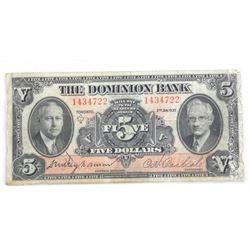 1935 Dominion Bank $5.00.