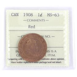 1908 Canada Large Cent MS-63. ICCS.