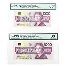 Lot (2) Bank of Canada 1988 One Thousand Dollar No