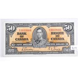 Bank of Canada 1937 $50.00 AU50.