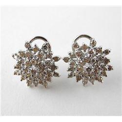 Ladies 14kt Gold Diamond Cluster Earrings (2.00ct)