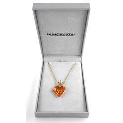 18kt Gold Overlay/Silver Swarovski Heart Necklace