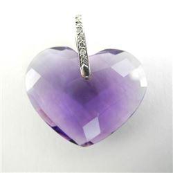 Ladies 18kt White Gold Heart Shape Purple Pendant.