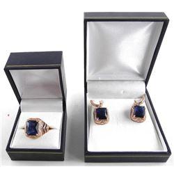 925 Sterling Silver/Rose Gold PLT Ring & Earring S