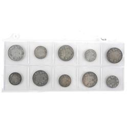 Grouping (10) Canada Silver Coins - Early Years