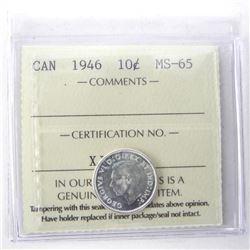 1946 Canada 10 Cent MS65. ICCS