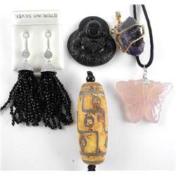 Grouping of 5 Hand made Pendants, Earrings & Neckl