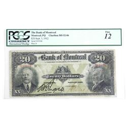 Bank of Montreal 1912, Twenty Dollar PCGS. Fine 12