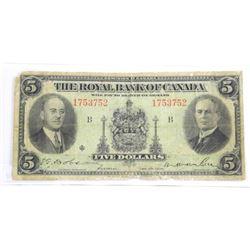 1935 Royal Bank $5.00.