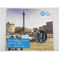 Royal Mint 2016 UK L100 .9999 Fine Silver Coin (BU