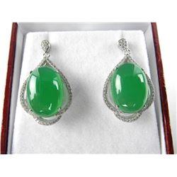 925 Silver Jadeite Earrings Cabochon Jadeite W/Swa