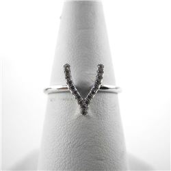925 Silver Horseshoe Ring - Swarovski Elements.