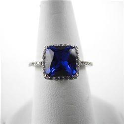 925 Silver Ring Cushion Cut Sapphire Blue Swarovsk